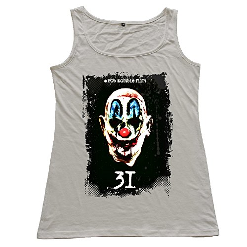 USTANKTOPKK Women's Rob Zombie 31 Clown Tank Tops. Gray -