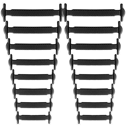 Elastische Schnürsenkel aus Silikon, für Sportschuhe und Sneaker Schwarz