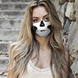 Xiaojmake Adult Adjustable Face_Coverings Halloween Skull Printed Face_Mask with Filter Washable Dust_Mask for Men Women