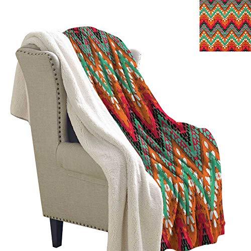 - Suchashome Tribal Lightweight All-Season Blanket Hand Paint Ethnic Zigzag Pattern with Africa Effects Brushstrokes Berber Fleece Blanket 60x47 Inch Marigold Sea Green Pink White