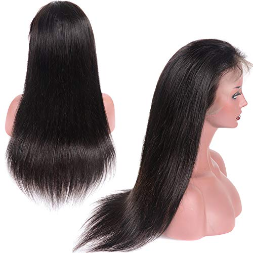 Younsolo Glueless Straight Lace Front Wigs with Baby Hair for Black Women 130% Density Virgin Remy Straight Human Hair Lace Front Wigs 10 inch