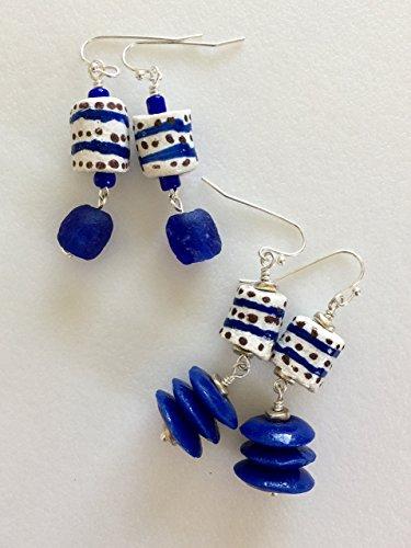African Krobo Bead Earrings, Blue And White Handmade Beads, Tribal Beads, Ethnic Beads, African Fair Trade.