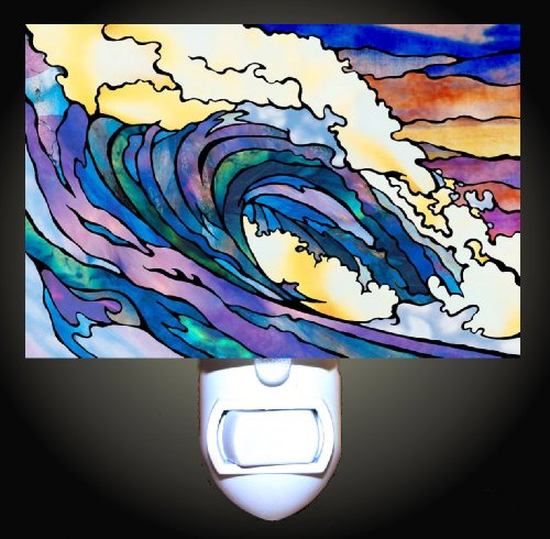Stained Glass Effect Wave Decorative Night Light