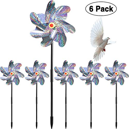 Maitys 6 Pieces Bird Repellent Pinwheels Holographic Mylar Pin Wheel Spinners for Farm Garden Field, Keeping Birds Away ()