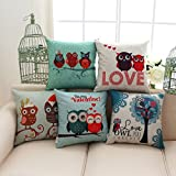 ME-COO-Cute-Owls-Couple-Lovely-Kids-Bedding-Sets-Cojine-Seat-Cushion-Cases-Pillow-Case-Home-Textile-Decorate-Throw-Pillowcase-18–18Inches-1pcs