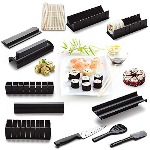 12 Pieces DIY Sushi Making Kit with 4 Sushi Shape