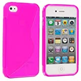 Cell Accessories For Less (TM) Hot Pink S-Line TPU Rubber Skin Case Cover for Apple iPhone 4 / 4S Bundle (Stylus & Micro Cleaning Cloth) - By TheTargetBuys
