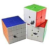 GoodPlay Cyclone Boys Mugua Bundle Pack,2x2x2,3x3x3,4x4x4 Speed Puzzle Cube Stickerless(Save Lots of Money)+Three Cube Bags