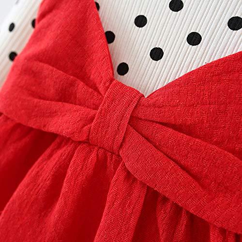 c0b7c50297195 子供服 Hosam 長袖 水玉 ドレス 蝶結び スカート 可愛い お嬢様 ワンピース きれいめ 洋服 幼児トップス