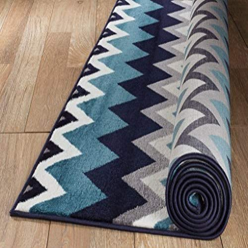 NEW Summit Elite S 66 Navy Blue Chevron design modern abstract Area Rug 5×7 actual is 4 .10 x 7 .2