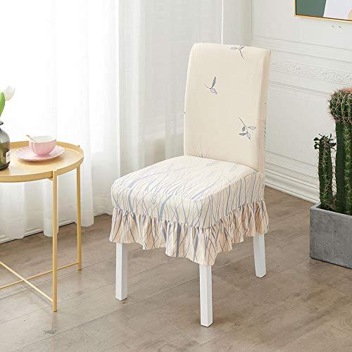 Fundas para sillas de Comedor, Funda de Silla elastica Moderna Impresa, cojin para Silla de Falda a Prueba de Polvo domestico-Juego de Piezas C_2, para Comedor, Cocina, Boda