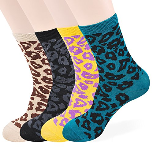 OkieOkie Vivid Tiger Skin Pattern Socks Womens- 3 to 6 Pairs Casual Cotton Blended Fashion Crew (4 Basic Tiger 1)