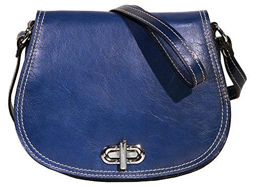 Calfskin Shoulder Bag - Floto Women's Saddle Bag in Blue Italian Calfskin Leather - handbag shoulder bag