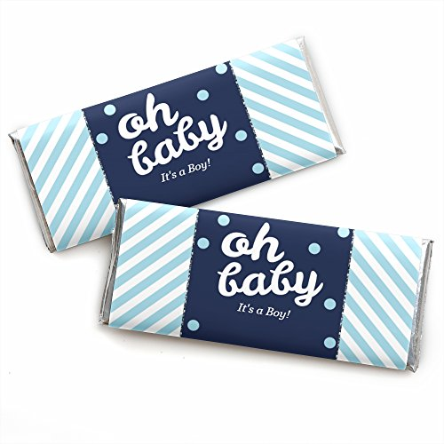 Candy Boy Wrappers (Hello Little One - Blue and Silver - Candy Bar Wrappers Boy Baby Shower Favors - Set of 24)
