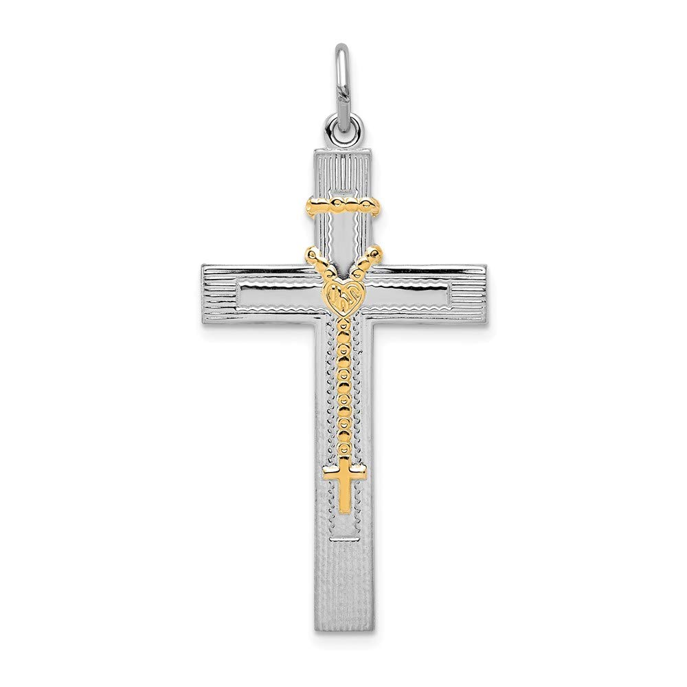Sterling Silver Rosaries Jewelry Pendants /& Charms Gold Tone Solid Gold-tone Rosary on Cross Pendant