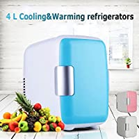 MD Group Car Portable Refrigerator Mini 4L Light Blue Fridge Freezer Cooler Warmer