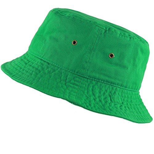The Hat Depot 300N Unisex 100% Cotton Packable Summer Travel Bucket Hat (L/XL, Kelly Green) ()