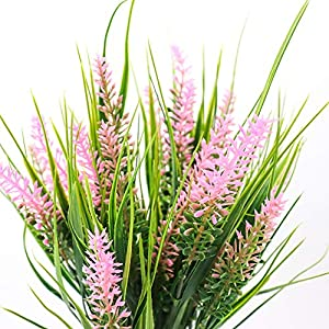 Yunuo 3PCS Artificial Green Grass with Lavender Fake Plant 7 Forks Flower Bouquets Party Wedding Home Table Decor 3