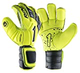 Rinat Soccer Goalkeeper Glove Uno Spine Alpha Pro Training Finger Protection Free Customization & Pin (8, Neon-Yellow)