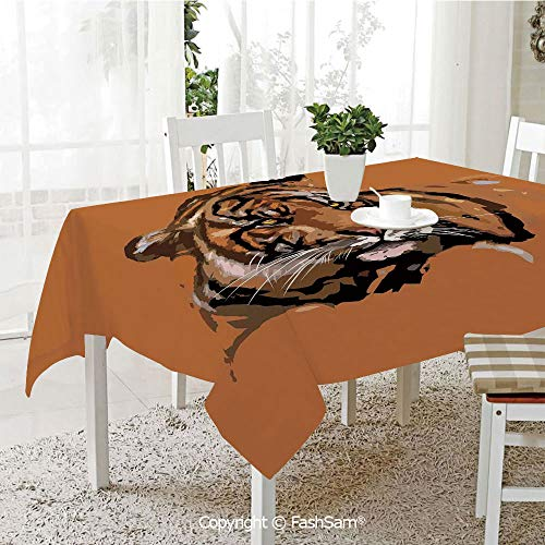 AmaUncle Premium Waterproof Table Cover Exotic Tiger with Retro Colors African Wild Nature Icon Print Illustration Resistant Table Toppers (W60 xL84)