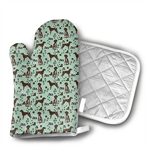(German Shorthaired Pointer Dog Oven Mitts and Pot Holders Set with Polyester Cotton Non-Slip Grip, Heat Resistant, Oven Gloves for BBQ Cooking Baking, Grilling)
