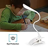 ELINKUME Dimmable USB Rechargeable Touch Sensor LED Table Desk Lamp Light Flexible Clip on 14 LEDs Bedside Book Reading Lamp for Bed