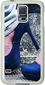 Galaxy S5 Case, Galaxy S5 Cases - Compatible With Samsung Galaxy S5 SV i9600 - Samsung Galaxy S5 Case Durable Protective Case for White Cover Blue Heels