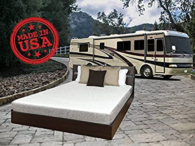 "TRAVEL HAPPY WITH A 8 INCH SHORT QUEEN (60"" x 75"" Inches) Cool Sleep Gel Memory Foam Mattress with Premium Textured 8-Way Stretch Cover for Campers, Rv's and Trailers MADE IN THE USA"
