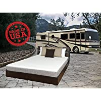 TRAVEL HAPPY WITH HANDCRAFTED IN USA! FREE SHIPPING! 8 Inch Short Queen Cool Sleep Gel Memory Foam Mattress with Premium Textured 8-Way Stretch Cover for Campers, Rv's and Trailers