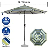 Cheap Sundale Outdoor 10 ft FadeSafe Olefin Fabric Patio Market Table Umbrella with Crank and Auto Tilt for Garden, Deck, Backyard, Pool, Solution Dyed and UV Resistant (Blue and Green Stripe)