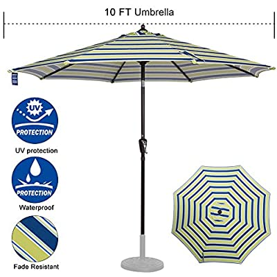 Sundale Outdoor 10 ft FadeSafe Olefin Fabric Patio Market Table Umbrella with Crank and Auto Tilt for Garden, Deck, Backyard, Pool, Solution Dyed and UV Resistant (Blue and Green Stripe) - ★ Convenient crank opens/closes system and auto tilt, even easy to use for kids and the elderly. Keep the sun at the back. ★ 1.5in diameter rust-free bronze aluminum pole and 8 aluminum ribs provide stronger support than standard round poles. Air vented top enhances umbrella stability. ★ 100% Olefin Fabric Canopy gives efficient protection with 2-year warranty: sun-proof, UV blocking, water-repellent and anti-fade capability. Enjoy warm weather without getting burned. - shades-parasols, patio-furniture, patio - 519GOfA1r7L. SS400  -