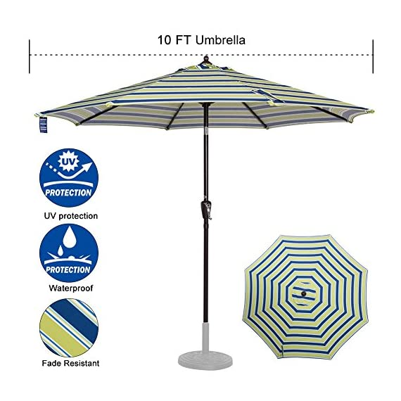 Sundale Outdoor 10 ft FadeSafe Olefin Fabric Patio Market Table Umbrella with Crank and Auto Tilt for Garden, Deck, Backyard, Pool, Solution Dyed and UV Resistant (Blue and Green Stripe) - ★ Convenient crank opens/closes system and auto tilt, even easy to use for kids and the elderly. Keep the sun at the back. ★ 1.5in diameter rust-free bronze aluminum pole and 8 aluminum ribs provide stronger support than standard round poles. Air vented top enhances umbrella stability. ★ 100% Olefin Fabric Canopy gives efficient protection with 2-year warranty: sun-proof, UV blocking, water-repellent and anti-fade capability. Enjoy warm weather without getting burned. - shades-parasols, patio-furniture, patio - 519GOfA1r7L. SS570  -