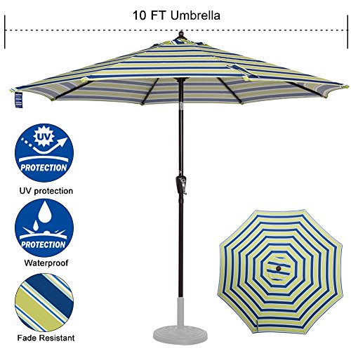 Sundale Outdoor 10 ft FadeSafe Olefin Fabric Patio Market Table Umbrella with Crank and Auto Tilt for Garden, Deck, Backyard, Pool, Solution Dyed and UV Resistant (Blue and Green (Olefin Market Umbrella)