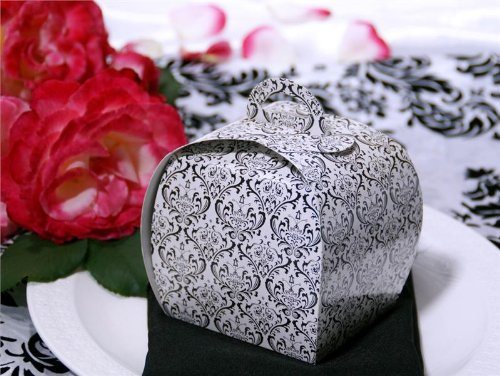 BalsaCircle 100 pcs 3.5-Inch Black and White Damask Design Unique Cupcake Purse Favor Boxes Wedding Party Birthday Gifts - Tea Favors Purse Bridal Shower