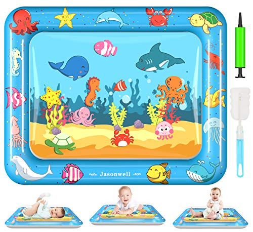 Jasonwell Tummy Time Water Mat Baby Toys 3 6 9 12 Months Old 30X24 Inches X-Large Infant Toys Inflatable Water Play Mat for Newborn Boys Girls Play Activity Center
