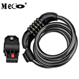 Bike Lock MECO 4 Ft Bike Cable Basic Self Coiling Resettable Combination Bicycle Lock