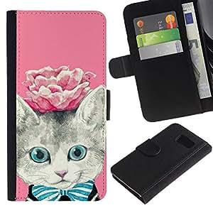 Planetar® Modelo colorido cuero carpeta tirón caso cubierta piel Holster Funda protección Para Samsung Galaxy S6 / SM-G920 ( Rose Kitty Kit Kitten Cat Eyes )