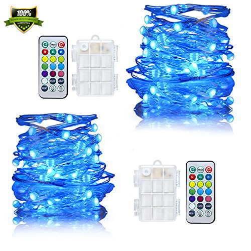 String Lights Battery Powered RGB Lights Waterproof 50 LED Fairy Lights 16.4FT Color Changing Firefly Lights with Remote Control for Bedroom Curtain Garden Wedding Halloween New Year Decor
