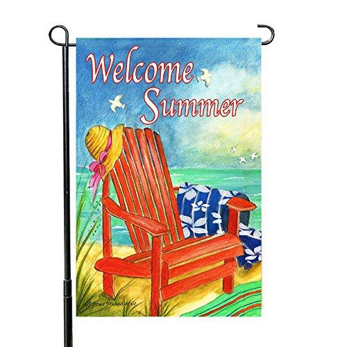 Bruce Michael Artist Welcome Spring-Summer Adirondack Beach Chair Garden Flags 12 x 18