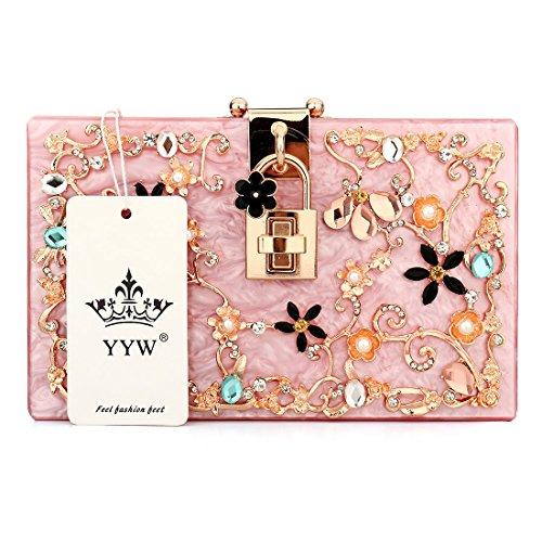 Evening Bags Hot Women Beaded Purses Clutches Handbag Acrylic Pink Wedding Pearl Flower HHtqa7