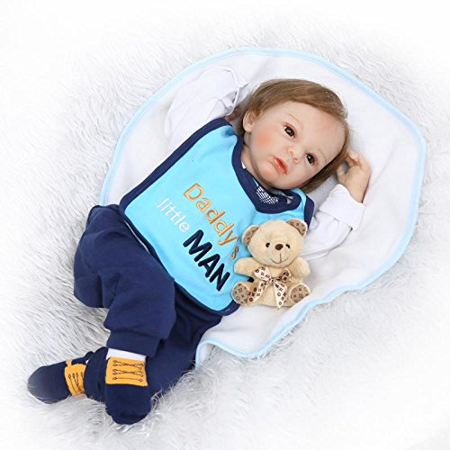 Realistic Reborn Baby Dolls Boy Toddler with Toy Bear Blue Outfit 22 Inches from Yesteria
