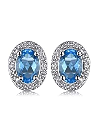 JewelryPalace Classic 1ct Genuine Swiss Blue Topaz Stud Earrings 925 Sterling Silver