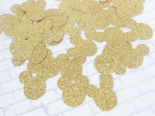 Mickey Mouse Gold Glitter Paper Confetti - Minnie Mouse Decor - Glitter Party Decoration - 1 inch - 300 Pieces -