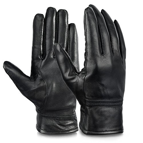 Vbiger Womens Leather Gloves Winter Gloves Cold Weather Warm Mittens Black (XL, Black)