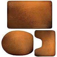 3 Piece Bath Mat Rug Set,Copper-Decor,Bathroom Non-Slip Floor Mat,Grungy-Vintage-Texture-Old-Abstract-Copper-Surface-Autumn-Theme-Print-Decorative,Pedestal Rug + Lid Toilet Cover + Bath Mat,Orange-Dar