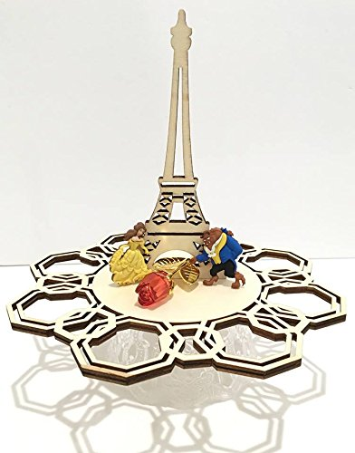 Beauty and The Beast Eiffel Tower Laser Cut Wood Base Centerpiece Cake Table Decoration For Birthday Wedding