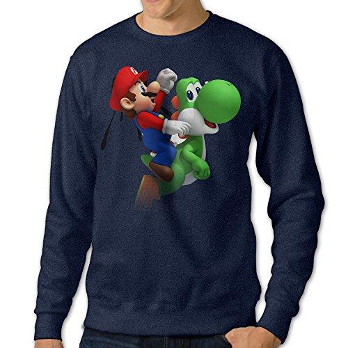 [NUBIA Men's Mario 7th Classic Hoodies Navy L] (Brad Pitt Costume Ideas)