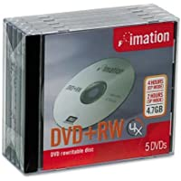 Imation DVD+RW Re-writable, 4.7GB/120 Minutes, Silver, Jewel Case, 5/Pack IMN16804