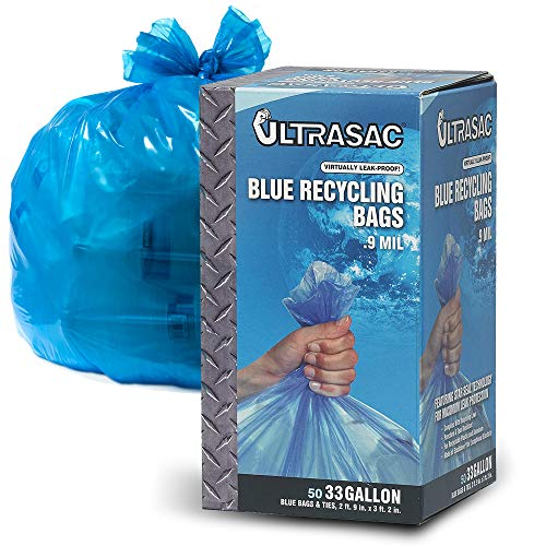 Heavy Duty Large Blue Recycling Bags by Ultrasac - 33 Gallon (GIANT 50 Pack /w ties) 38' x 33' - Professional Quality Tall Plastic Garbage and Recycle Trash Bag for Cans, Bottles, Newspaper and more (Recycle Plastic Bags)