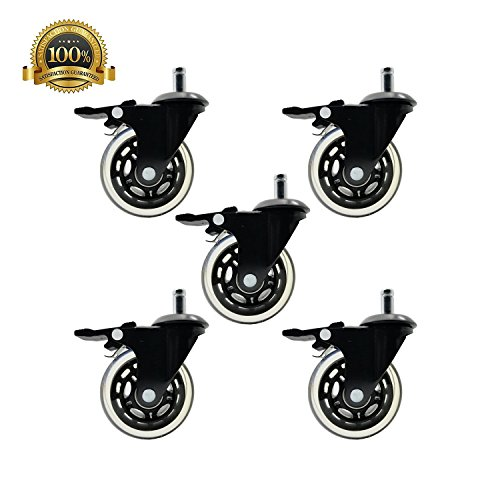 DGQ Office Chair Caster wheels 3'' - Set of 5 with Brake Heavy Duty & Safe for All Floors Including Hardwood - Rollerblade Style Universal Fit by DGQ (Image #1)